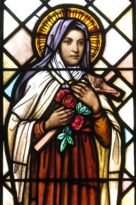 St. Therese stained glass window.